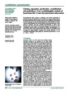 Cloning, expression, purification, crystallization and ... - IUCr Journals