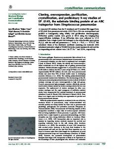 Cloning, overexpression, purification, crystallization ... - IUCr Journals