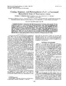 Cloning, Sequence, and Photoregulation of al-i, a Carotenoid ...
