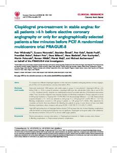 Clopidogrel pre-treatment in stable angina: for all ... - BioMedSearch