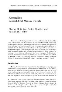 Closed-End Mutual Funds