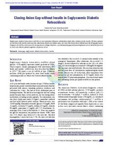 Closing Anion Gap without Insulin in Euglycaemic Diabetic Ketoacidosis