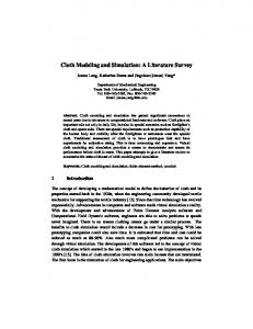 Cloth Modeling and Simulation: A Literature Survey