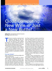 Cloud Computing: New Wine or Just a New Bottle? Cloud ...