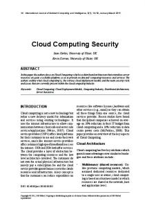 Cloud Computing Security - Your Projects