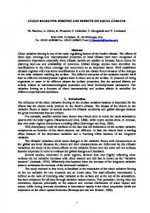 CLOUD RADIATIVE FORCING AND EFFECTS ON ...