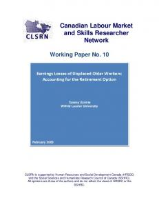 CLSRN Working Paper no. - Canadian Labour Market and Skills ...