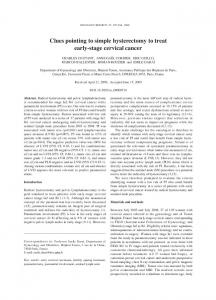 Clues pointing to simple hysterectomy to treat early ... - Semantic Scholar