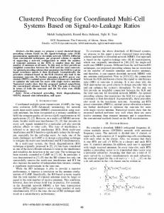 Clustered Precoding for Coordinated Multi-Cell Systems ... - IEEE Xplore