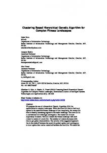 Clustering Based Hierarchical Genetic Algorithm for ... - Rahul Kala