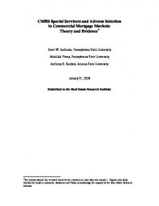 CMBS Special Servicers and Adverse Selection in ... - Semantic Scholar