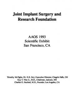 CME Activites - Joint Implant Surgery & Research Foundation