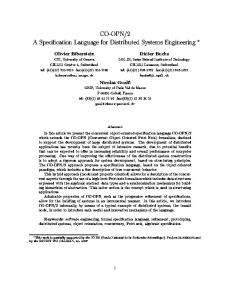 CO-OPN/2 A Speci cation Language for Distributed ... - CiteSeerX