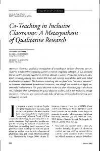 Co- Teaching in Inclusive Classrooms: A Metasynthesis - College of ...