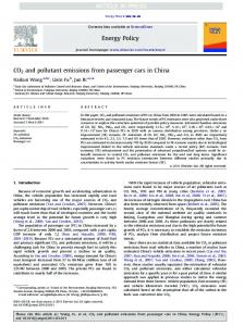 CO2 and pollutant emissions from passenger cars in China