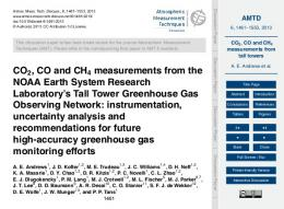 CO2, CO and CH4 measurements from tall towers