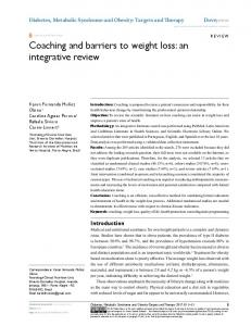 Coaching and barriers to weight loss: an ... - Semantic Scholar