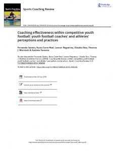 Coaching effectiveness within competitive youth