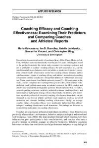Coaching Efficacy and Coaching Effectiveness: Examining ... - Core