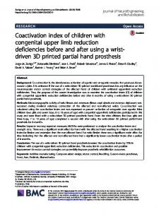 Coactivation index of children with congenital upper limb reduction ...