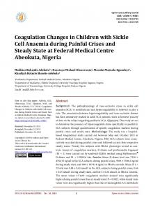 Coagulation Changes in Children with Sickle Cell