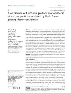 coalescence of functional gold and monodisperse