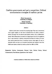 Coalition governments and party competition: Political ...
