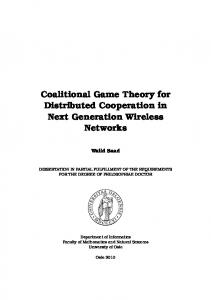 Coalitional Game Theory for Distributed Cooperation ... - Dr. Walid Saad