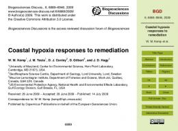Coastal hypoxia responses to remediation