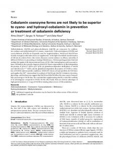 cobalamin in prevention or - Wiley Online Library