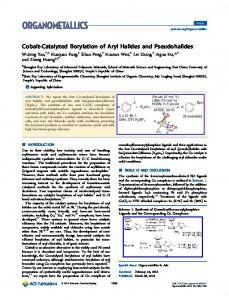 Cobalt-Catalyzed Borylation of Aryl Halides and ... - ACS Publications