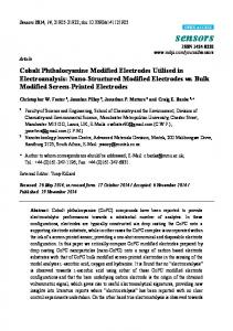 Cobalt Phthalocyanine Modified Electrodes Utilised in ... - MDPI