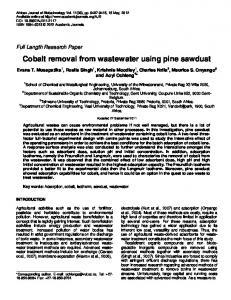 Cobalt removal from wastewater using pine sawdust - CiteSeerX