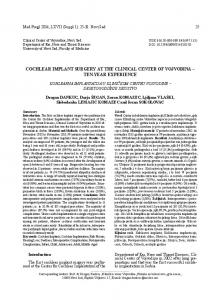 COCHLEAR IMPLANT SURGERY AT THE ... - Semantic Scholar
