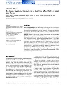 Cochrane systematic reviews in the field of ... - Wiley Online Library