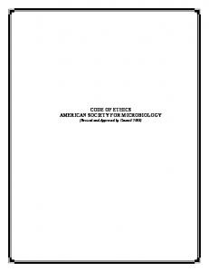 CODE OF ETHICS AMERICAN SOCIETY FOR MICROBIOLOGY
