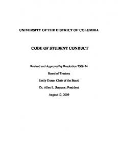 CODE OF STUDENT CONDUCT