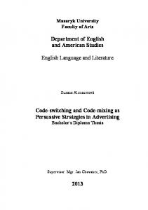 Code-switching and Code-mixing as Persuasive Strategies in ...