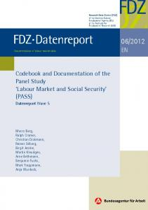 Codebook and Documentation of the Panel Study 'Labour Market and ...
