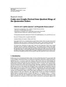 Codes over Graphs Derived from Quotient Rings of the Quaternion ...
