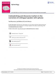 Codeswitching and discourse markers in the ...