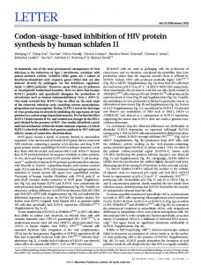 Codon-usage-based inhibition of HIV protein synthesis by human ...