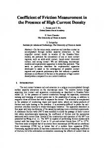 Coefficient of Friction Measurement in the Presence of ... - CiteSeerX