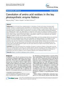 Coevolution of amino acid residues in the key ... - BioMedSearch
