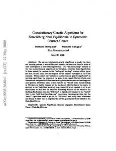 Coevolutionary Genetic Algorithms for Establishing Nash Equilibrium