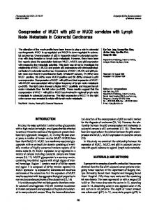 Coexpression of MUC1 with p53 or MUC2