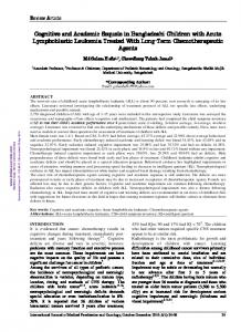 Cognitive and Academic Sequele in Bangladeshi Children with Acute ...