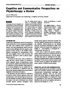 Cognitive and Communicative Perspectives on Physiotherapy: a Review