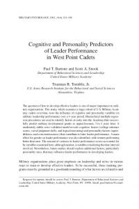 Cognitive and Personality Predictors of Leader ... - CiteSeerX