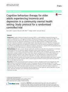 Cognitive behaviour therapy for older adults experiencing insomnia ...